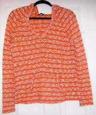 Sanctuary Women Orange Acrylic Cotton light weight Hooded Pullover Sweater Top S
