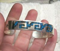 TAXCO MEXICO VINTAGE STERLING SILVER TURQUOISE INLAY CUFF BRACELET TRIBAL MOTIF