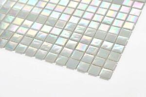Glas Schwimmbad Mosaik Muster Irisierende Perle Weiß Schimmerndes MT0131 Muster