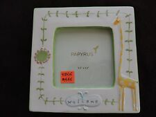 "New Papyrus Ceramic Giraffe Flower Welcome Baby Frame 3.5"" x 3.5"" Picture"