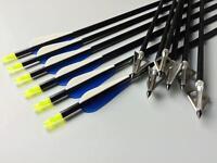 "31"" Archery Aluminum Shaft Arrow Compound Bow +100 Grain Hunting Broadheads Tip"