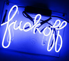 """Neon FACK OFF Blue Windows Bar Red Decor Party Music Markers LIGHT SIGN 12""""X8.3"""""""