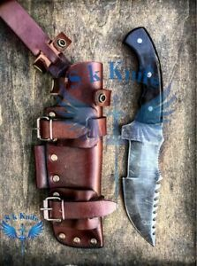 Custom Hand Forged Damascus Steel Hunting Knife With Buffalo Horn