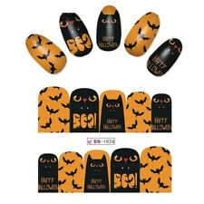 Nail Art Water Decals Stickers Transfers Halloween Pumpkin Orange Cat Bat BN1026
