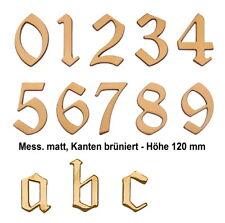 Hausnummer-Messing matt gebürstet-Höhe 120 mm-Schild-Zimmernummer-Nummer-Zahl