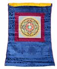 Om Mandala Thangka im blauen Brokatrahmen handgemalt Nepal Buddhismus Nr.16