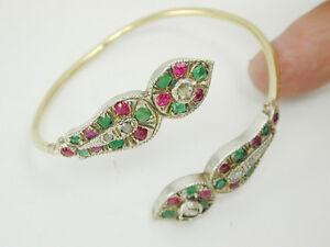 2442 SALE Antique/Vintage Bangle Bracelet 21k Gold & Silver Serpent Head w/ Gems