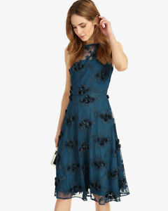 BNWT Phase Eight Deidra Petrol Blue Embroidered Evening Occasion Dress Size 12