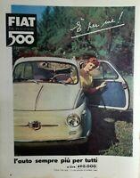 Rara Pubblicità originale d'epoca 1956 FIAT NUOVA 500