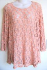 TIANELLO 'Martha Blouse' Salmon Pink Scoop Neck Lace ¾-Sleeve Tunic Top S