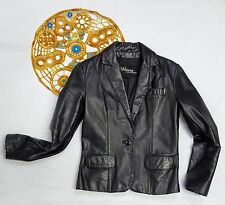 Women Wilsons Leather lined VTG motorcycle black genuine blazer jacket, 10 S M