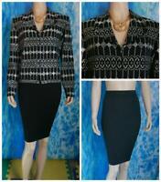ST. JOHN Evening Knits Black Jacket Skirt L 14 12 2pc Suit Cream Sequins Sparkle