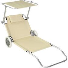 Chaise longue de plage jardin pliante transat bain soleil toit aluminium beige