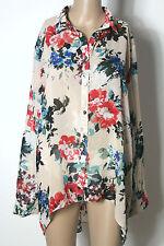atmosphere Bluse Gr. 40 nude-bunt Blumen Oversize Long Bluse