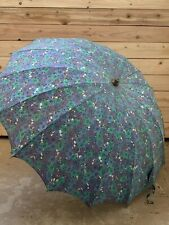 Vintage Floral Umbrella Parasol with Clear Handle Blue and Purple Parasol
