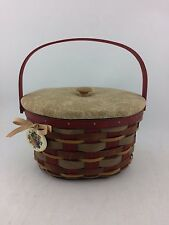 Longaberger 2011 Crimson Hill Oval Red Basket w Protector To Fabric LidRare