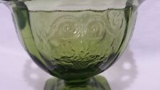 Indiana Glass Lorain Basket Avocado Green Footed Dish