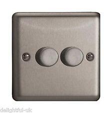 Varilight V-Pro LED 2 Gang Dimmer Light Switch Matt Chrome - JSP252