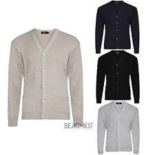 Mens Fine Knit Plain V Neck Buttoned Fashion Grandad Cardigan Top Size S to 5XL