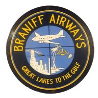 VINTAGE BRANIFF AIRWAYS PORCELAIN METAL SIGN USA AVIATION AIRPLANE BOAT OIL GAS