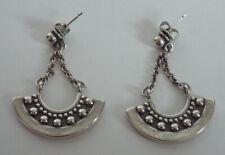 Vtg JAMES AVERY Sterling Silver CRESCENT BEADED POST EARRINGS 925 Dangle Balls