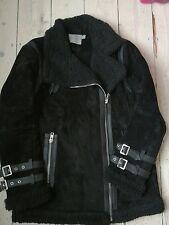 ASOS black suede biker aviator jacket, faux shearling, sz 10,leather, acne style
