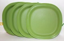 "Tupperware Plates Chic Dining Set of 4 Square 9.5"" Lunch and Dinner Dishes Green"