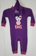 Hatley Romper size 6-12 months purple pink dog Circus long sleeve baby hat