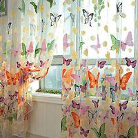 1 X Butterfly Tulle Window Screens Sheer Voile Door Balcony Curtain Drape M&O