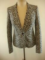 Womens sz 4 Banana Republic 1-Button Animal Print Black White Jacket Blazer Coat