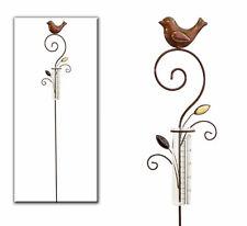 Regenmesser Metall / Gartenstecker Gartendeko Rostoptik mit Vogel