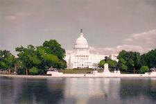 "U.S. CAPITOL & REFLECTING POOL WASHINGTON DC 8x12"" HAND COLOR TINTED PHOTOGRAPH"