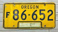 1979 Vintage Yellow & Blue Oregon License Plate