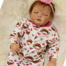 "55cm Reborn Sleeping Girl Doll Handmade Soft Lifelike Baby Silicone Vinyl 22"""
