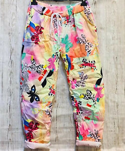 made in Italy: Stretch-Hose Joggpants Regenbogenfarben Schmetterlinge 36 - 42
