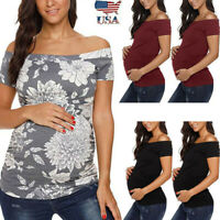 Women Pregnancy Short Sleeve Off Shoulder Tops T Shirt Nusring Maternity Blouse