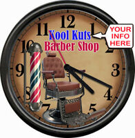Personalized Name Retro Vintage Barber Shop Brown Chair Pole Sign Wall Clock