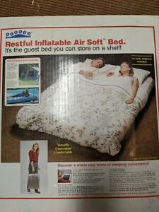 NEW Vintage Inflatable FULL Sz Guest Bed Camping Outdoor Mattress Air Bed