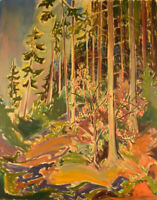 Emil A. Schou (1896-1986). Danish artist. Forest scene. Oil on canvas. 1940's.