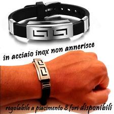 bracciale braccialetto bracciali uomo acciaio inox gomma silicone caucciu da in