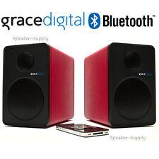 Grace Digital Powered Bluetooth Bookshelf Speakers Red Wireless New GDI-BTSP207