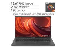 "ASUS VivoBook 15.6"" FHD NanoEdge Laptop, 20GB DDR4 RAM, 128GB M.2 SSD"