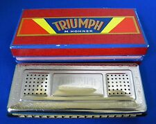 Vintage Triumph M. Hohner Double Sided Harmonica In Case * Great Condition Rare!