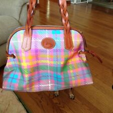 Dooney & Bourke Madras Small Domed Satchel Purse Multi Color Pink