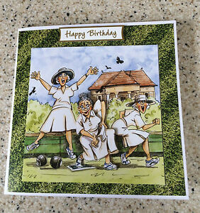 "Handmade Birthday card 3D decoupage humorous female bowls bowler 6"" square"