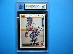 1991/92 UPPER DECK NHL HOCKEY CARD #21 TEEMU SELANNE ROOKIE RC KSA 9.5 NGM UD