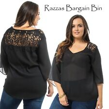 New Ladies Black Chiffon Top With Lace Back Plus Size 14/1XL (9882)MQY