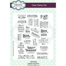 New Creative Expressions Rubber Stamp BEER HAPPY SENTIMENT SET clear cling