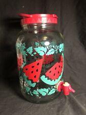 New listing Vtg 1 Gallon Glass Watermelon Drink Dispenser Water Lemonade Sun Tea Red Green