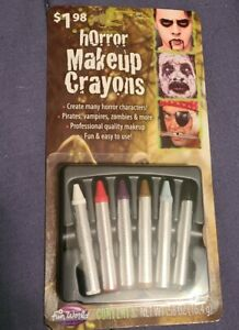 Fun World Pack Of 6 Horror Makeup Crayons Costume Face Paint